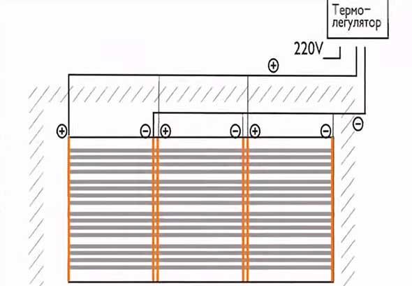 Схема подключения к терморегулятору
