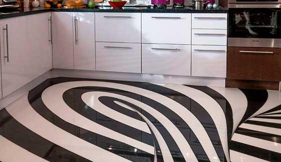 Наливные 3-D полы на кухне