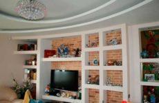 Ниша из гипсокартона в интерьере современной квартиры