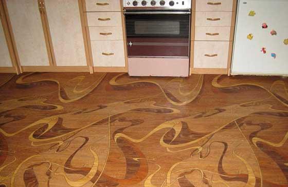 Покрытие пола кухни линолеумом