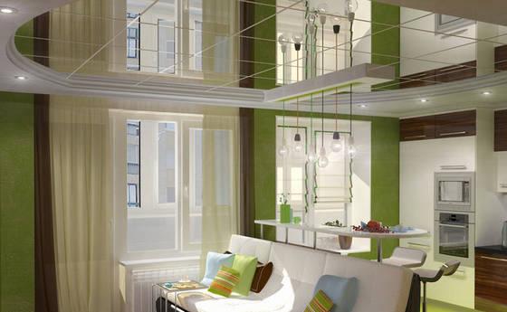 Зеркальный потолок Армстронг в интерьере квартиры