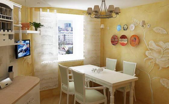 Декоративная штукатурка в интерьере кухни