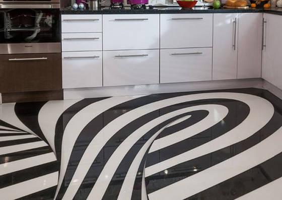 Наливной 3-D пол на кухне