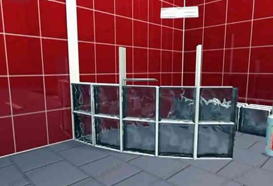 Кладка стеклоблоков в ванной комнате