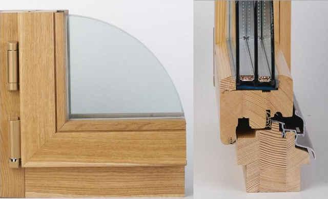 Деревянное окно со стеклопакетом и алюминиевыми накладками
