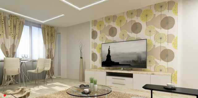 Дизайн поклейки обоев в гостиной