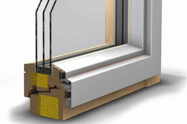 Комбинированные окна древесина с алюминиевыми накладками