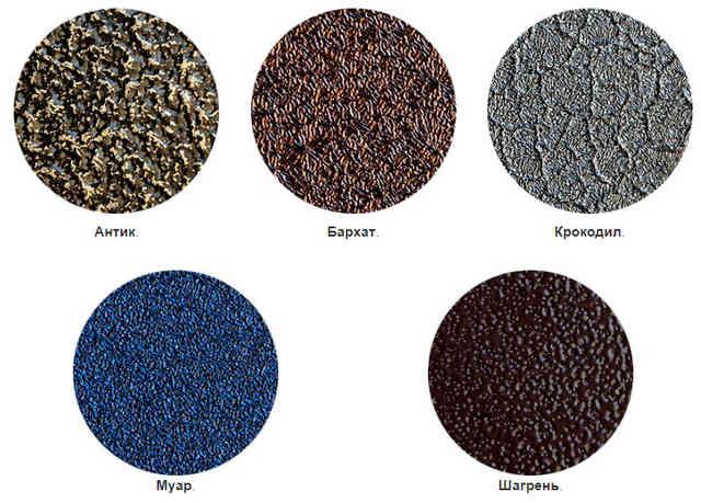 Образцы молотковой краски