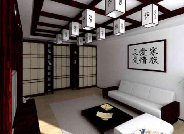 Японский стиль в оформлении гостиной